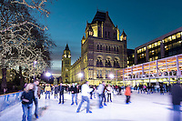 United Kingdom, England, London, Kensington: Christmas Ice Skating Rink outside the Natural History Museum