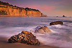 Evening light at Greyhound Rock Beach, Greyhound Rock County Park, Santa Cruz County coast, California