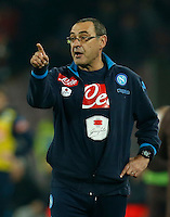 Napoli's coach  Maurizio Sarri during the  italian serie a soccer match,between SSC Napoli and AS Roma       at  the San  Paolo   stadium in Naples  Italy ,December 13, 2015