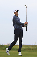 Charlie Strickland (ENG) on the 1st tee during Round 1of the Flogas Irish Amateur Open Championship 2019 at the Co.Sligo Golf Club, Rosses Point, Sligo, Ireland. 16/05/19<br /> <br /> Picture: Thos Caffrey / Golffile<br /> <br /> All photos usage must carry mandatory copyright credit (© Golffile | Thos Caffrey)