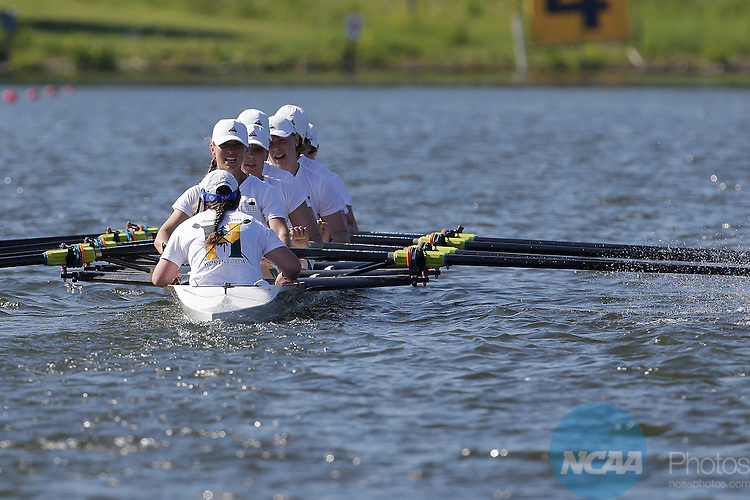 01 JUNE 2014:  Humboldt State competes in the Eights Grand Final during the Division II Rowing Championships held at the Indianapolis Rowing Center at Eagle Creek in Indianapolis, IN. Humboldt State won the team national title.  AJ Mast/NCAA Photos