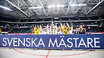 Solna 2014-03-15 Bandy SM-final Damer Kareby IS - AIK  :  <br /> AIK spelare jubla med SM-pokalen bakom en skylt med texten Svenska M&auml;stare<br /> (Foto: Kenta J&ouml;nsson) Nyckelord:  SM SM-final final dam damer Kareby AIK jubel gl&auml;dje lycka glad happy