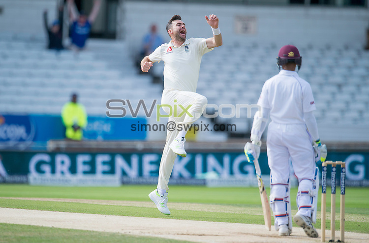 Picture by Allan McKenzie/SWpix.com - 27/08/2017 - Cricket - Investec Test - England v West Indies - Headingley Cricket Ground, Leeds, England - England's James Anderson celebrates his second wicket in two balls by dismissing the West Indies Shane Dowrich.