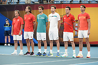 10th January 2020; Sydney Olympic Park Tennis Centre, Sydney, New South Wales, Australia; ATP Cup Australia, Sydney, Day 8; Belgium versus Spain; Kimmer Coppejans of Belgium versus Roberto Bautista Agut of Spain; Team Spain including Rafael Nadal line up for national anthems - Editorial Use