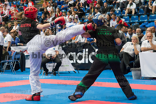 Gold medalist Shauna Bannon (R) of Ireland and silver medalist Sonja Stacher (L) of Austria fight in the 2 LC 040 S F -55 kg final at the WAKO (World Association of Kickboxing Organizations) World Kick-boxing Championships in Budapest, Hungary on Nov. 10, 2017. ATTILA VOLGYI
