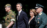 Lt.Gen. Brovold, PM Jens Stoltenberg, Defense Minister Grete Faremo and Chief of Defence Harald Sunde. Norwegian soldiers receive medals after a tour with International Security Assistance Force (ISAF), Afghanistan. Prime Minister Jens Stoltenberg and Defense Minister Grete Faremo attended the ceremony held at Akershus Castle in Oslo.
