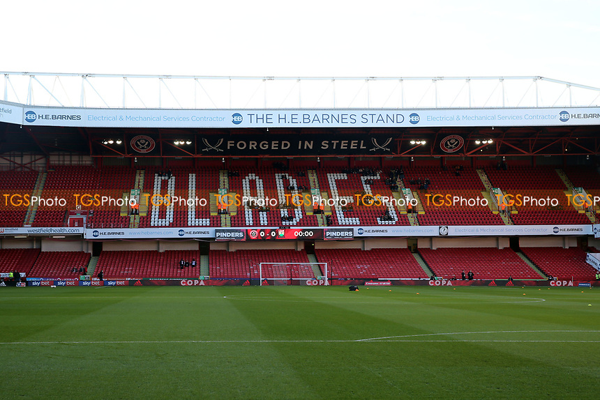 The H E Barnes stand before Sheffield United vs Barnet, Emirates FA Cup Football at Bramall Lane on 6th January 2019