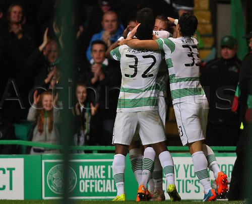 23.10.2014.  Glasgow, Scotland. UEFA Europa League. Celtic versus Astra Giurgiu. Stefan Johansen celebrates his goal