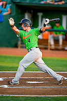 Casey Schroeder (4) of the Great Falls Voyagers follows through on his swing against the Ogden Raptors during the Pioneer League game at Lindquist Field on August 18, 2016 in Ogden, Utah. Ogden defeated Great Falls 10-6. (Stephen Smith/Four Seam Images)