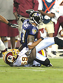 Landover, MD - August 25, 2007 --  Washington Redskins linebacker London Fletcher (59) tackles Baltimore Ravens wide receiver Demetrius Williams (87) in first half action at FedEx Field in Landover, Maryland on Saturday, August 25, 2007..Credit: Ron Sachs / CNP