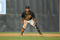 Bristol Pirates first baseman Mikell Granberry (7) on defense against the Danville Braves at American Legion Post 325 Field on July 1, 2018 in Danville, Virginia. The Braves defeated the Pirates 3-2 in 10 innings. (Brian Westerholt/Four Seam Images)