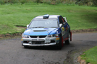 Barry Groundwater / Daniel Paterson near Junction 10 on the Gleaner Oil & Gas Cooper Park Special Stage 1 of the Gleaner Oil & Gas Speyside Stages Rally 2012, Round 6 of the RAC MSA Scotish Rally Championship which was organised by The 63 Car Club (Elgin) Ltd and based in Elgin on 4.8.12..........