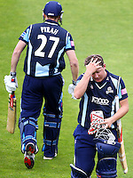 PICTURE BY ALEX WHITEHEAD/SWPIX.COM - Cricket - FriendLife T20 - Yorkshire v Lancashire - Headingley, Leeds, England - 29/06/12 - Yorkshire's Gary Ballance (right) is out for 42 and replaced by Rich Pyrah.