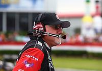 Apr 24, 2015; Baytown, TX, USA; Rob Flynn , crew chief for NHRA top fuel driver Leah Pritchett during qualifying for the Spring Nationals at Royal Purple Raceway. Mandatory Credit: Mark J. Rebilas-