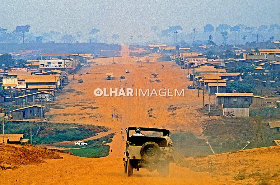 Poluição do ar por queimadas em Rondônia.  1998. Foto de Ricardo Azoury.
