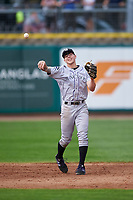 Grand Junction Rockies shortstop Christian Koss (36) throws to first base during a Pioneer League game against the Billings Mustangs at Dehler Park on August 14, 2019 in Billings, Montana. Grand Junction defeated Billings 8-5. (Zachary Lucy/Four Seam Images)