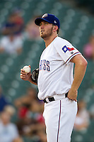 Round Rock Express pitcher Greg Reynolds #28 during the Pacific Coast League baseball game against the Omaha Storm Chasers on July 22, 2012 at the Dell Diamond in Round Rock, Texas. The Express defeated the Chasers 8-7 in 11 innings. (Andrew Woolley/Four Seam Images).