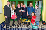 Wood Viking winner of the Feel my Puse Coursing Sweepstake Final at the Kingdom Greyhound Stadiun on Friday Pictured l-r Declan Dowling  Caroline McGuire, Karol McGuire, Dan Brassil, Art McGuire, Stephen Murray,Ashling Murray and Noelle McGuire