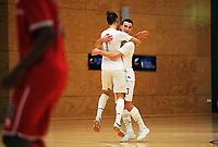 Benjamin Lapslie celebrates scoring the opening goal of international men's futsal match between the NZ Futsal Whites and New Caledonia at Baypark Arena in Mount Maunganui, New Zealand on Thursday, 14 September 2017. Photo: Dave Lintott / lintottphoto.co.nz