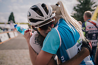 post-finish emotions for race winner Krists Neilands (LAT/Israel Cycling Academy) <br /> <br /> 3rd Dwars Door Het hageland 2018 (BEL)<br /> 1 day race:  Aarschot > Diest: 198km