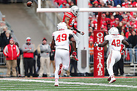 Ohio State Buckeyes wide receiver Devin Smith (9) misses a pass that gets intercepted in the first quarter of the college football game between the Ohio State Buckeyes and the Indiana Hoosiers at Ohio Stadium in Columbus, Saturday afternoon, November 22, 2014. As of half time the Ohio State Buckeyes led the Indiana Hoosiers 14 - 13. (The Columbus Dispatch / Eamon Queeney)
