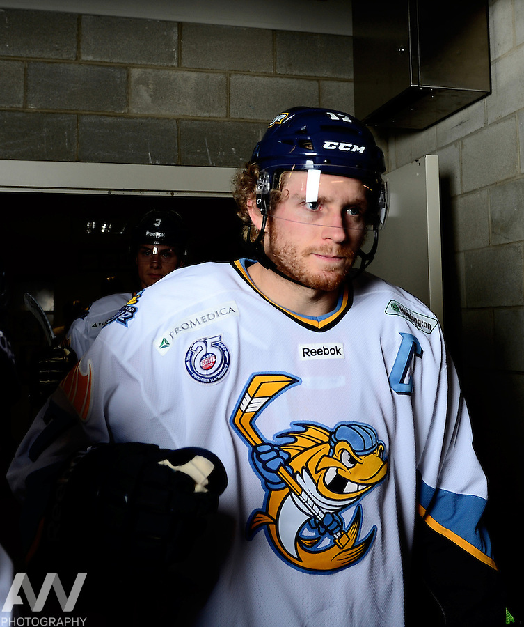 Oct 19, 2012; Toledo, OH, USA; Toledo Walleye right wing Kyle Rogers (17) against the Cincinnati Cyclones at Huntington Center: Mandatory Credit: Andrew Weber