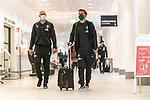 05.07.2020, Bremen Airport Hans Koschnick, Bremen, GER, Werder Bremen - Airpirt Bremen Abflug Relegation 02 - Heidenheim, <br /> <br /> Reisecrew des SV Werder Bremen auf dem Bremer Flughafen / Airport auf dem Weg zum 2. Relegationsspiel am 06.07.2020 in Heidenheim. Auf dem Airport alle mit Sicherheitsabstand und mit CORONA Gesichtsmaske<br /> <br /> <br />  im Bild<br /> <br /> Christian Vander (Torwart-Trainer SV Werder Bremen) (li)<br /> Florian Kohfeldt (Trainer SV Werder Bremen)<br /> <br /> <br /> Foto © nordphoto / Kokenge