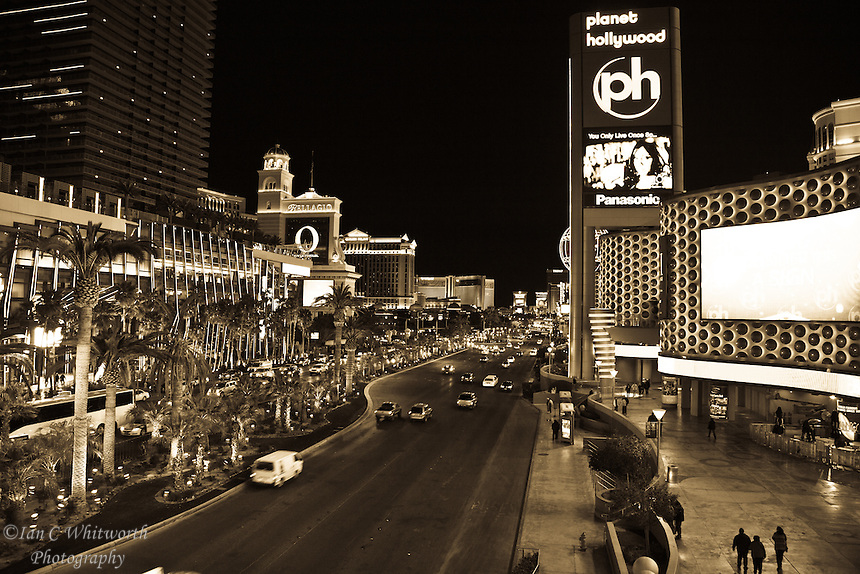 Looking up the Las Vegas strip at night in B&W