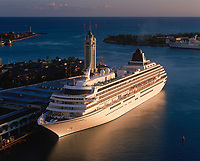 Cruise Ship at Sunset, Aloha Tower Marketplace, Honolulu, Oahu, Hawaii, USA.
