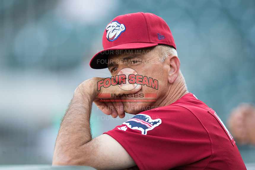 Lehigh Valley Iron Pigs bench coach John Mizerock (7) prior to the game against the Charlotte Knights at BB&T BallPark on June 3, 2016 in Charlotte, North Carolina.  The Iron Pigs defeated the Knights 6-4.  (Brian Westerholt/Four Seam Images)