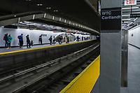 """NOVA YORK, EUA, 09.09.2018 - WTC-NOVA YORK - O World Trade Center, estação de metrô Cortlandt Street é visto em Nova York, onde poucos dias antes do aniversário dos ataques de 11 de setembro, os trens estão mais uma vez correndo pela estação de metrô enterrada quando as Torres Gêmeas caíram 17 anos atrás. A parada de Cortlandt reabriu no sábado na linha número um do que o New York Times descreveu como """"a última grande peça na busca da cidade pela reconstrução do que foi perdido"""". A estação estava sob o World Trade Center, cujas torres gêmeas se desmoronaram depois de serem atingidas por aviões comandados por militantes da Al-Qaeda. (Foto: Vanessa Carvalho/Brazil Photo Press)"""