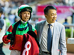 Jockey #8 Victor Wong who rode Eagle (L) and Ricky Yiu Poon-fai (R) reacts after winning the race 6 during Hong Kong Racing at Happy Valley Racecourse on September 05, 2018 in Hong Kong, Hong Kong. Photo by Yu Chun Christopher Wong / Power Sport Images