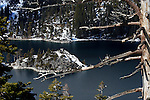 """""""Winter Cover"""" Fannette Island- Emerald Bay Lake Tahoe, CA.  This close up Winter photograph of Fannette Island is a Classic.  I really like the simplicity of the photograph."""