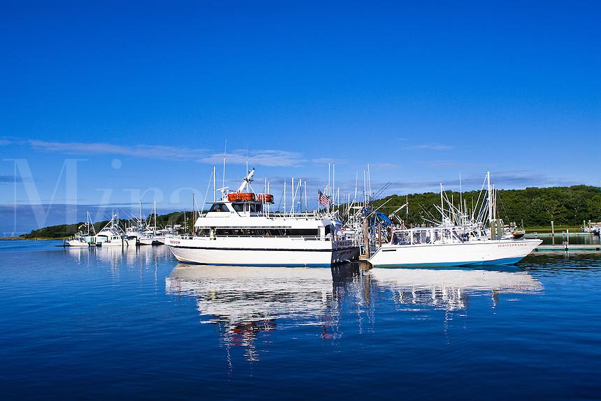 Boats docked in Saquatucket Harbor, Harwichport, Cape Cod, MA