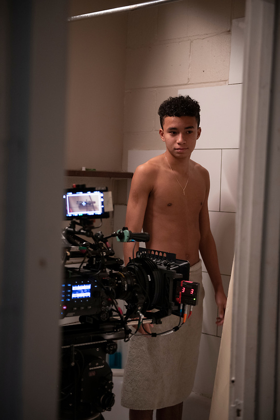 """Actor Callum Myat (Isaac) during filming of """"Isaac and the Ram"""" Jason Bradbury Director. Behind the scenes of the Uncertain Kingdom Project. Finsbury Park, London"""