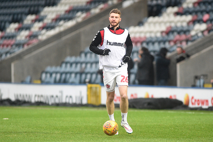 Fleetwood Town's James Husband during the pre-match warm-up <br /> <br /> Photographer Hannah Fountain/CameraSport<br /> <br /> The EFL Sky Bet League One - Rochdale v Fleetwood Town - Saturday 19 January 2019 - Spotland Stadium - Rochdale<br /> <br /> World Copyright © 2019 CameraSport. All rights reserved. 43 Linden Ave. Countesthorpe. Leicester. England. LE8 5PG - Tel: +44 (0) 116 277 4147 - admin@camerasport.com - www.camerasport.com
