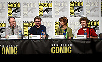 SAN DIEGO COMIC-CON© 2019: L-R: 20th Century Fox Television and Hulu's Solar Opposites Executive Producer Mike McMahan, Co-Creator/Executive Producer Justin Roiland, Cast Members Mary Mack and Sean Giambrone during the SOLAR OPPOSITES panel on Friday, July 19 at the SAN DIEGO COMIC-CON© 2019. CR: Frank Micelotta/20th Century Fox Television