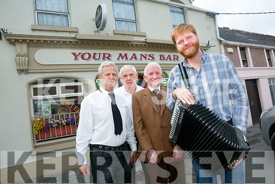 Lunching ' A Tribute to Nora Mai Rochford ' Live in the Marquee BallyDuff at Your Man's Bar, Awarded The second unusual name Bar in Ireland on Sunday 6th August at 8pm. Pictured  l-r John Walsh, Packie Browne, Michael Rochford and Danny O'Mahony