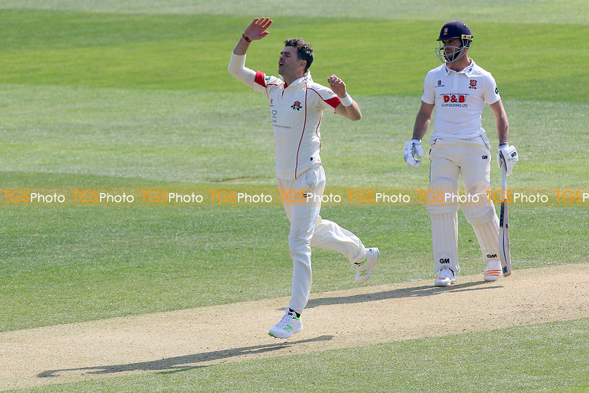 James Anderson of Lancashire goes close to a wicket during Essex CCC vs Lancashire CCC, Specsavers County Championship Division 1 Cricket at The Cloudfm County Ground on 8th April 2017