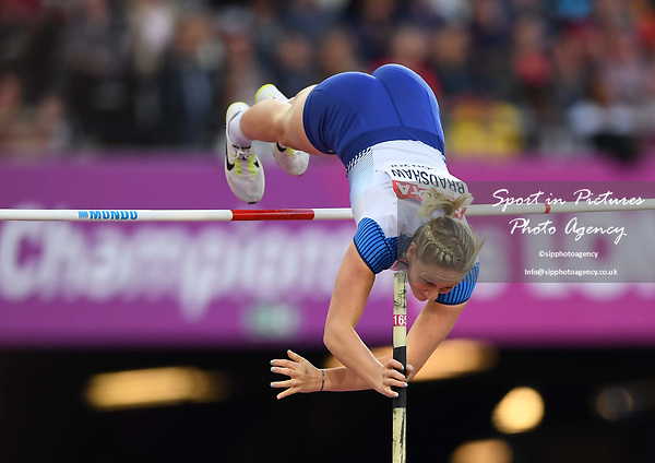 jHolly Bradshaw (GBR) in the womens pole vault. IAAF world athletics championships. London Olympic stadium. Queen Elizabeth Olympic park. Stratford. London. UK. 06/08/2017. ~ MANDATORY CREDIT Garry Bowden/SIPPA - NO UNAUTHORISED USE - +44 7837 394578