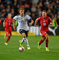 01.09.2017, Football WM-Qualifikation, 7. match day, Tschechien - Germany, in Prag, stadium Eden.  Thomas Mueller (Germany)  -  Jan Boril (Tschechien)  *** Local Caption *** +++ NED + SUI out +++<br /> Contact: +49-40-22 63 02 60 , info@pixathlon.de