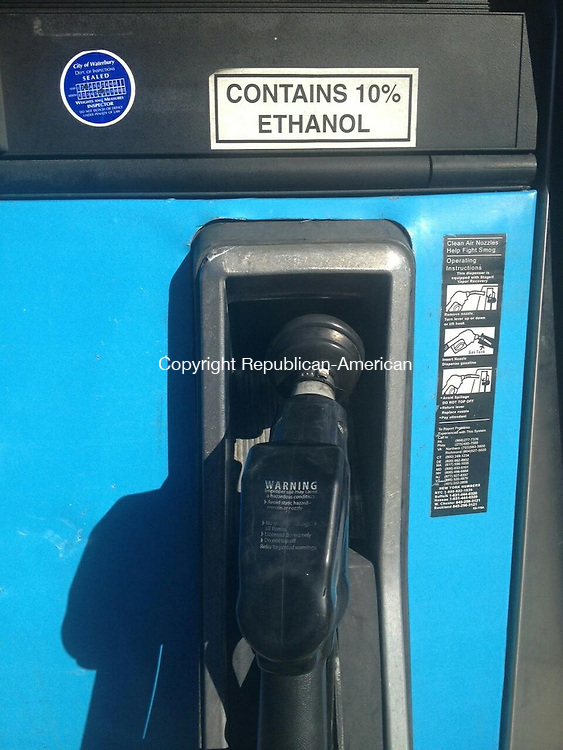 WATERBURY, Conn. - 14 November 2013 - 111413DK01 -- A sticker on a gas pump at the Gulf station on Union Street in Waterbury on Thursday informs consumers that the gasoline contains 10 percent ethanol. Updated Environmental Protection Agency rules will allow up to 15 percent ethanol in gasoline starting in 2014. David Krechevsky Republican-American