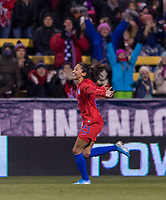 COLUMBUS, OH - NOVEMBER 07: Christen Press #23 of the United States celebrates during a game between Sweden and USWNT at Mapfre Stadium on November 07, 2019 in Columbus, Ohio.