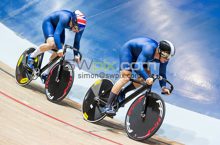 Picture by Allan McKenzie/SWpix.com - 28/01/2018 - Cycling - Track Cycling - HSBC UK National Track Championships - HSBC UK National Cycling Centre, Manchester, England - Alex Jolliffe and Lewis Stewart.