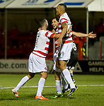 Tony Andreu celebrates with Dougie Imrie and Mickael Antoine-Curier after scoring goal no 2 for Hamilton