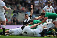 Referee Nigel Owens awards a try to Paul O'Connell of Ireland. QBE International match between England and Ireland on September 5, 2015 at Twickenham Stadium in London, England. Photo by: Patrick Khachfe / Onside Images