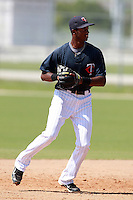 Minnesota Twins minor league third baseman Niko Goodrum during a game vs. the Boston Red Sox in an Instructional League game at Lee County Sports Complex in Fort Myers, Florida;  October 1, 2010.  Photo By Mike Janes/Four Seam Images