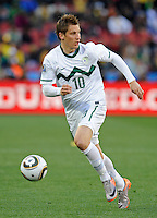 Valter Birsa of Slovenia. USA vs Slovenia in the 2010 FIFA World Cup at Ellis Park in Johannesburg, South Africa on June 18th, 2010.