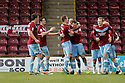 Garry Thompson of Scunthorpe (11) is congratulated after scoring . Scunthorpe United v Stevenage - npower League 1 - Glanford Park, Scunthorpe - 21st January, 2012. © Kevin Coleman 2012