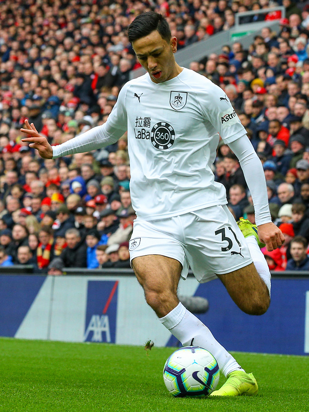 Burnley's Dwight McNeil in action<br /> <br /> Photographer Alex Dodd/CameraSport<br /> <br /> The Premier League - Liverpool v Burnley - Sunday 10th March 2019 - Anfield - Liverpool<br /> <br /> World Copyright © 2019 CameraSport. All rights reserved. 43 Linden Ave. Countesthorpe. Leicester. England. LE8 5PG - Tel: +44 (0) 116 277 4147 - admin@camerasport.com - www.camerasport.com